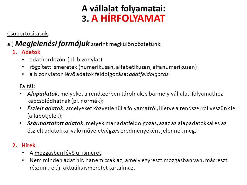 Csoportosításuk: a.) Megjelenési formájuk szerint megkülönböztetünk: 1.Adatok adathordozón (pl. bizonylat) rögzített ismeretek (numerikusan, alfabetik