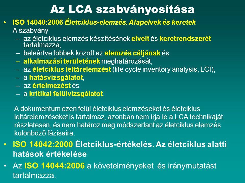 Az LCA szabványosítása ISO 14040:2006 Életciklus-elemzés.