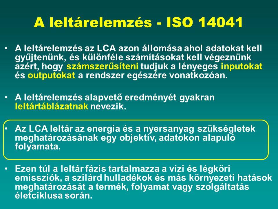 A leltárelemzés - ISO 14041 A leltárelemzés az LCA azon állomása ahol adatokat kell gyűjtenünk, és különféle számításokat kell végeznünk azért, hogy számszerűsíteni tudjuk a lényeges inputokat és outputokat a rendszer egészére vonatkozóan.