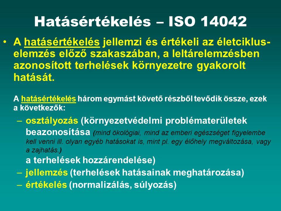 Hatásértékelés – ISO 14042 A hatásértékelés jellemzi és értékeli az életciklus- elemzés előző szakaszában, a leltárelemzésben azonosított terhelések környezetre gyakorolt hatását.