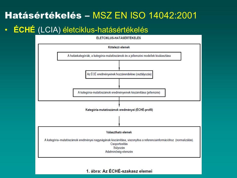 Hatásértékelés – MSZ EN ISO 14042:2001 ÉCHÉ (LCIA) életciklus-hatásértékelés