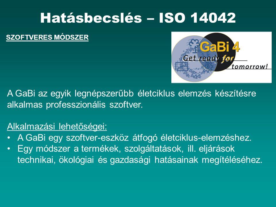 SZOFTVERES MÓDSZER Hatásbecslés – ISO 14042 A GaBi az egyik legnépszerűbb életciklus elemzés készítésre alkalmas professzionális szoftver.