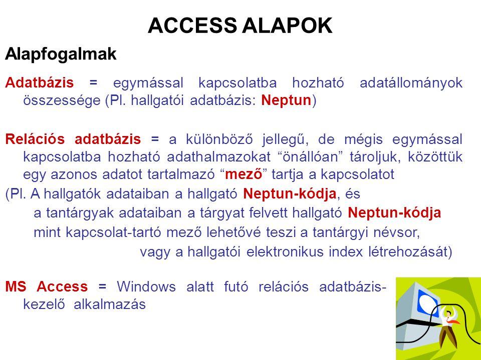 Alapfogalmak ACCESS ALAPOK Adatbázis = egymással kapcsolatba hozható adatállományok összessége (Pl. hallgatói adatbázis: Neptun) Relációs adatbázis =