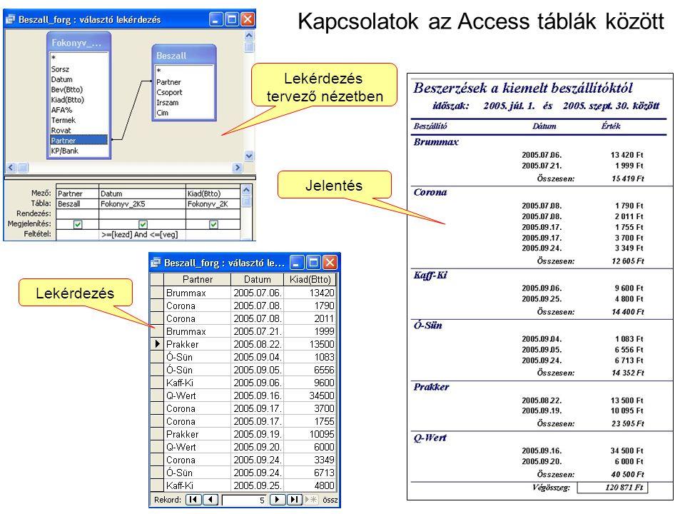 Kapcsolatok az Access táblák között Jelentés Lekérdezés tervező nézetben Lekérdezés