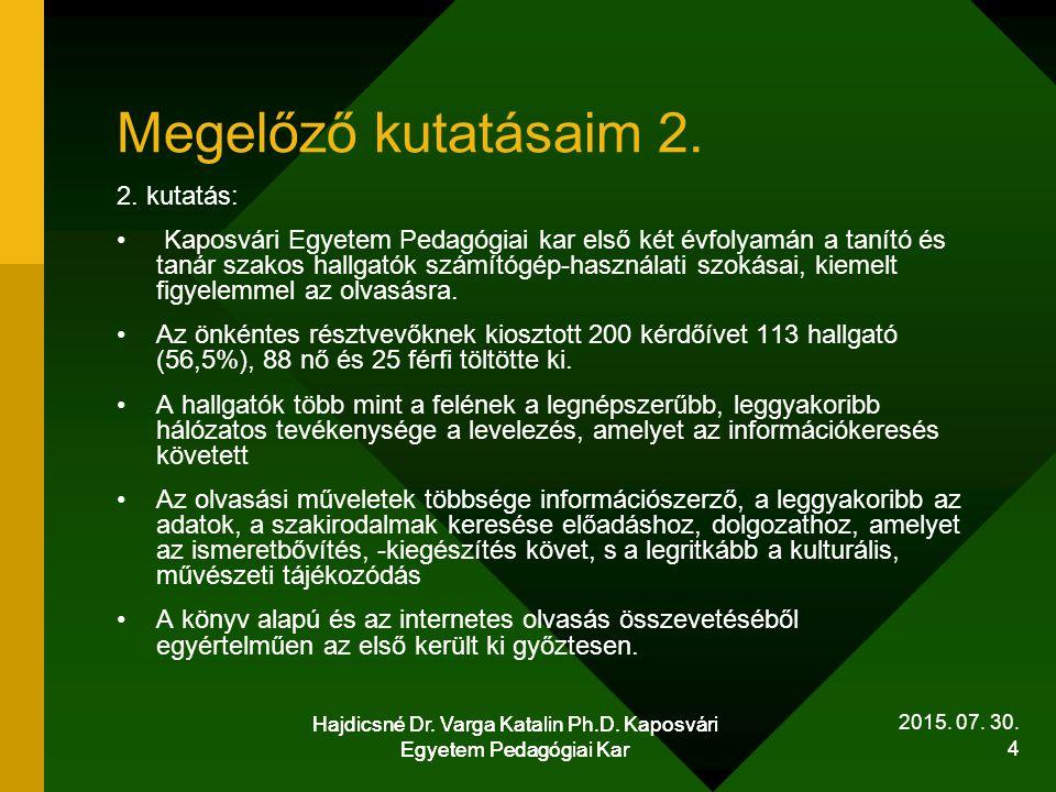 Hajdicsné Dr.Varga Katalin Ph.D. Kaposvári Egyetem Pedagógiai Kar 5 2015.