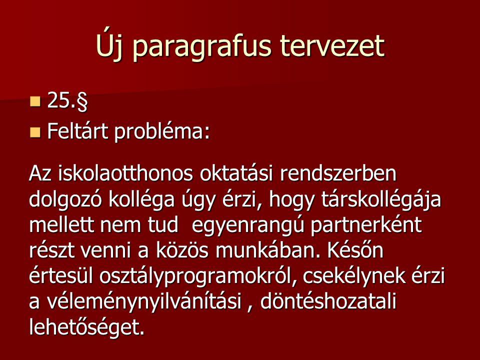 Új paragrafus tervezet 25.§ 25.§ Feltárt probléma: Feltárt probléma: Az iskolaotthonos oktatási rendszerben dolgozó kolléga úgy érzi, hogy társkollégája mellett nem tud egyenrangú partnerként részt venni a közös munkában.