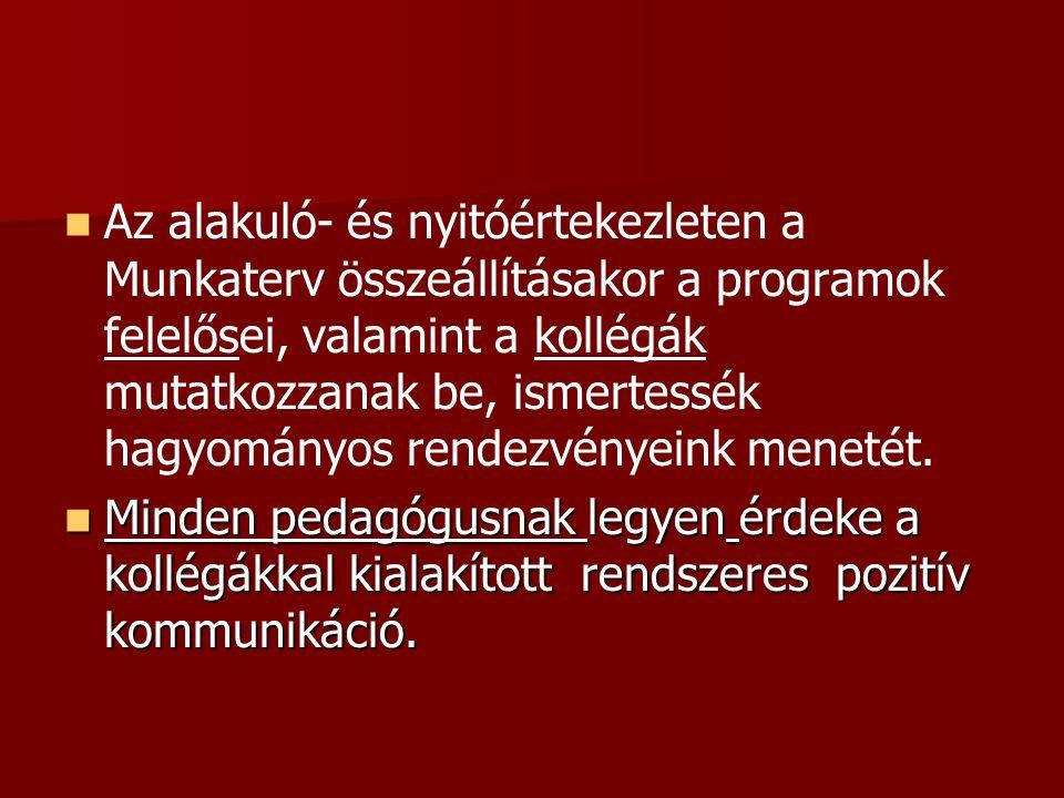 Az alakuló- és nyitóértekezleten a Munkaterv összeállításakor a programok felelősei, valamint a kollégák mutatkozzanak be, ismertessék hagyományos rendezvényeink menetét.