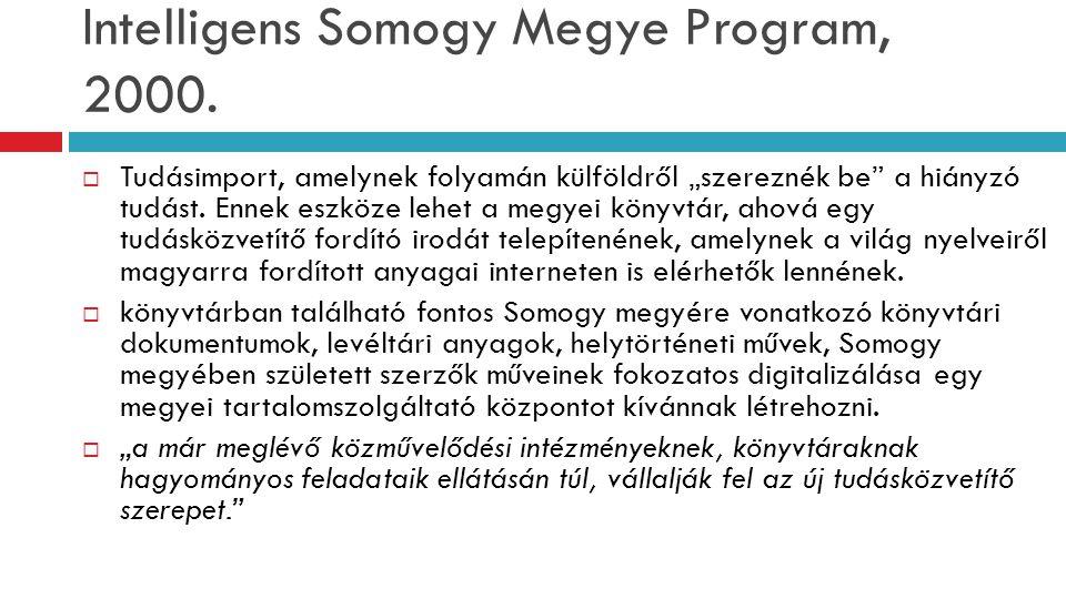 """Intelligens Somogy Megye Program, 2000.  Tudásimport, amelynek folyamán külföldről """"szereznék be"""" a hiányzó tudást. Ennek eszköze lehet a megyei köny"""