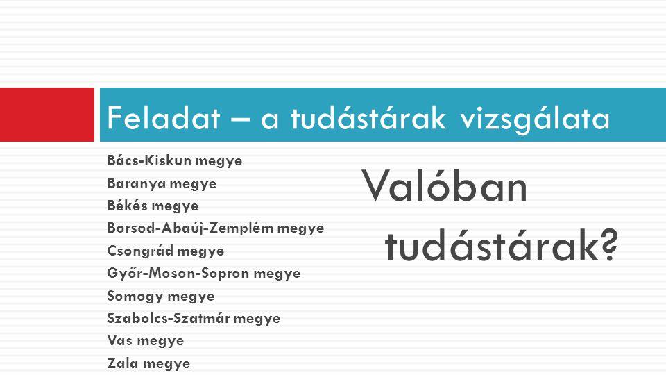 Bács-Kiskun megye Baranya megye Békés megye Borsod-Abaúj-Zemplém megye Csongrád megye Győr-Moson-Sopron megye Somogy megye Szabolcs-Szatmár megye Vas