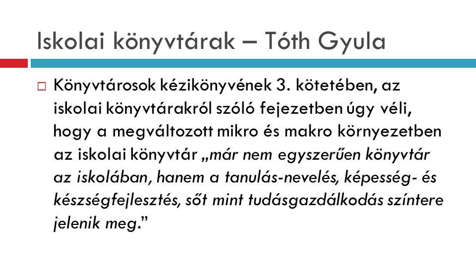 Iskolai könyvtárak – Tóth Gyula  Könyvtárosok kézikönyvének 3. kötetében, az iskolai könyvtárakról szóló fejezetben úgy véli, hogy a megváltozott mik