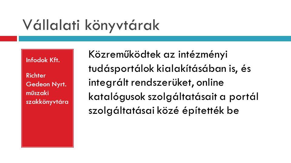Vállalati könyvtárak Infodok Kft. Richter Gedeon Nyrt. műszaki szakkönyvtára Közreműködtek az intézményi tudásportálok kialakításában is, és integrált