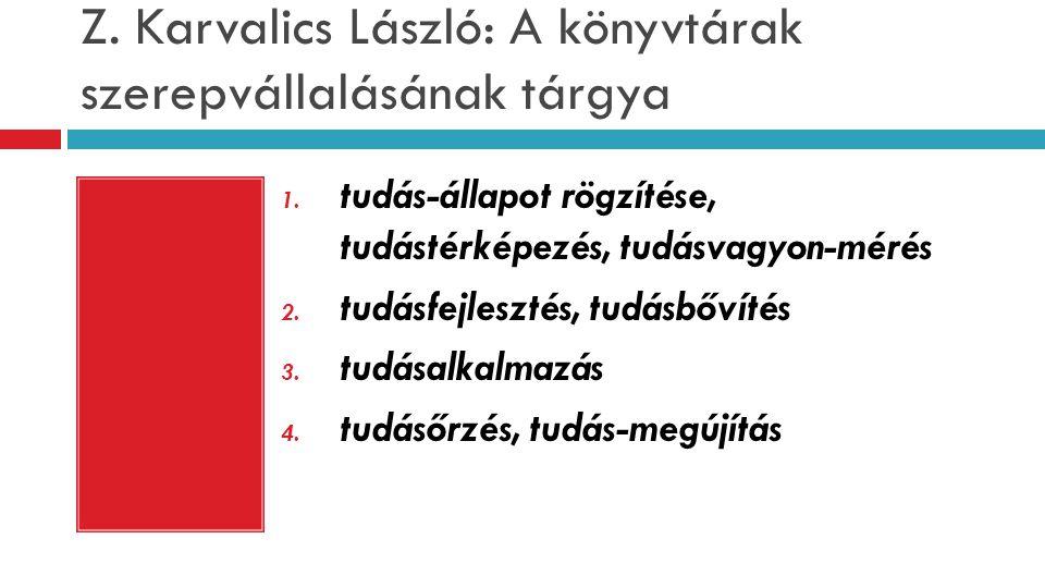 Z. Karvalics László: A könyvtárak szerepvállalásának tárgya 1. tudás-állapot rögzítése, tudástérképezés, tudásvagyon-mérés 2. tudásfejlesztés, tudásbő