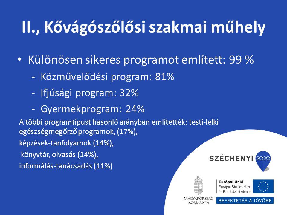 II., Kővágószőlősi szakmai műhely Különösen sikeres programot említett: 99 % -Közművelődési program: 81% -Ifjúsági program: 32% -Gyermekprogram: 24% A többi programtípust hasonló arányban említették: testi-lelki egészségmegőrző programok, (17%), képzések-tanfolyamok (14%), könyvtár, olvasás (14%), informálás-tanácsadás (11%)