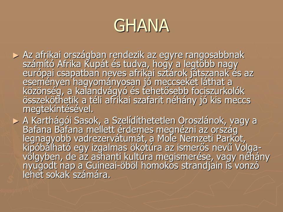 GHANA ► Az afrikai országban rendezik az egyre rangosabbnak számító Afrika Kupát és tudva, hogy a legtöbb nagy európai csapatban neves afrikai sztárok