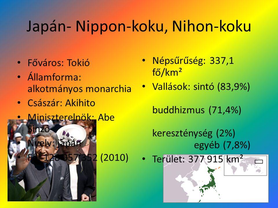 Japán- Nippon-koku, Nihon-koku Főváros: Tokió Államforma: alkotmányos monarchia Császár: Akihito Miniszterelnök: Abe Sinzó Nyelv: japán Fő: 128 057 352 (2010) Népsűrűség: 337,1 fő/km² Vallások: sintó (83,9%) buddhizmus (71,4%) kereszténység (2%) egyéb (7,8%) Terület: 377 915 km²