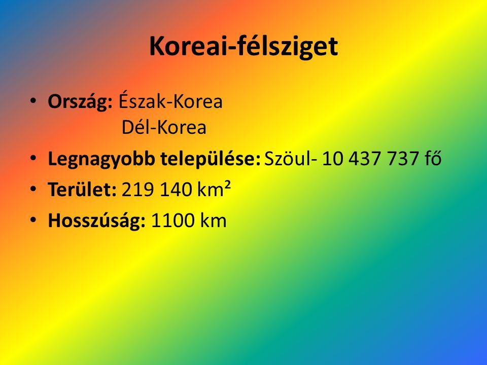Koreai-félsziget Ország: Észak-Korea Dél-Korea Legnagyobb települése: Szöul- 10 437 737 fő Terület: 219 140 km² Hosszúság: 1100 km
