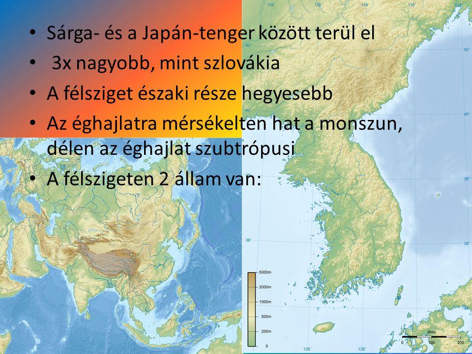 Sárga- és a Japán-tenger között terül el 3x nagyobb, mint szlovákia A félsziget északi része hegyesebb Az éghajlatra mérsékelten hat a monszun, délen