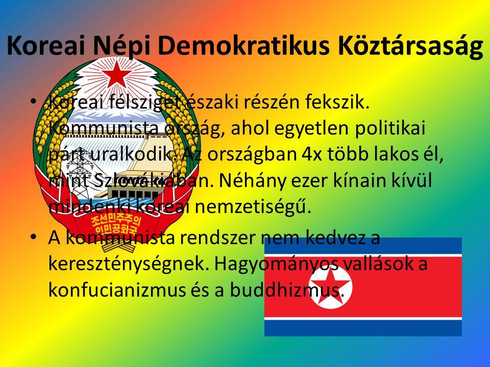 Koreai Népi Demokratikus Köztársaság Koreai félsziget északi részén fekszik. Kommunista ország, ahol egyetlen politikai párt uralkodik. Az országban 4