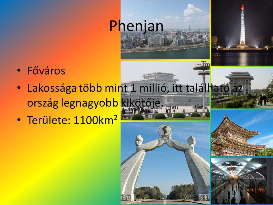 Phenjan Főváros Lakossága több mint 1 millió, itt található az ország legnagyobb kikötője. Területe: 1100km²