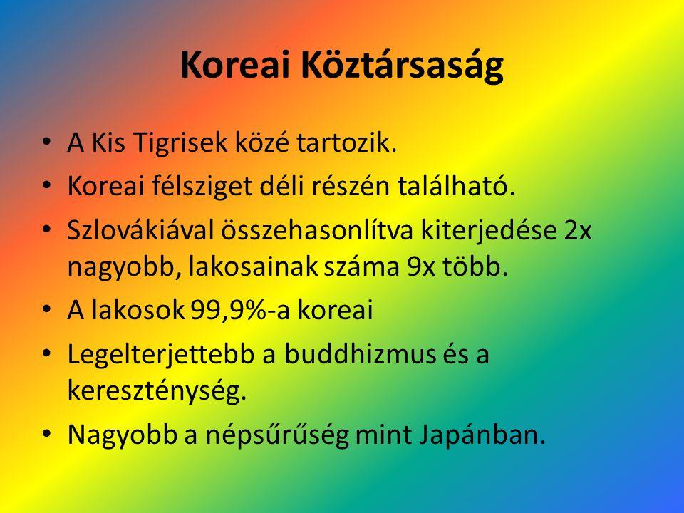 Koreai Köztársaság A Kis Tigrisek közé tartozik. Koreai félsziget déli részén található. Szlovákiával összehasonlítva kiterjedése 2x nagyobb, lakosain