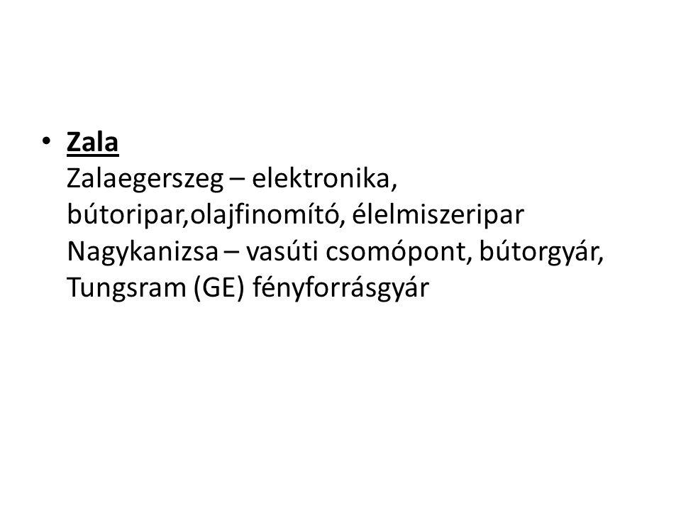 Zala Zalaegerszeg – elektronika, bútoripar,olajfinomító, élelmiszeripar Nagykanizsa – vasúti csomópont, bútorgyár, Tungsram (GE) fényforrásgyár