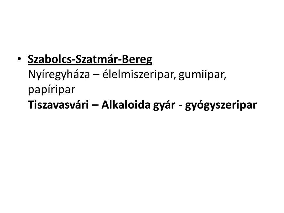 Szabolcs-Szatmár-Bereg Nyíregyháza – élelmiszeripar, gumiipar, papíripar Tiszavasvári – Alkaloida gyár - gyógyszeripar