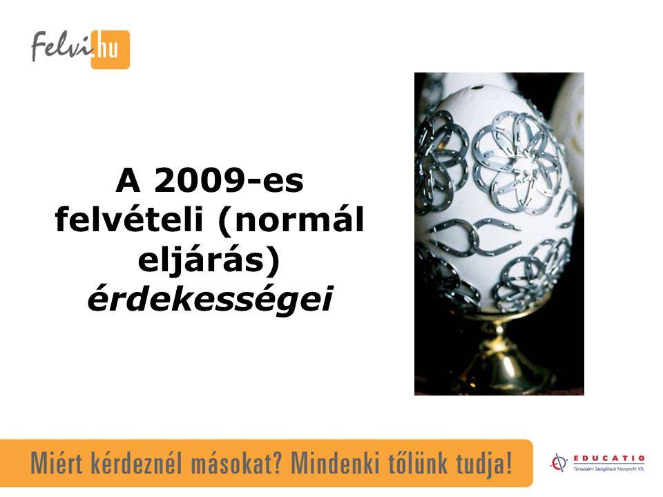 A 2009-es felvételi (normál eljárás) érdekességei