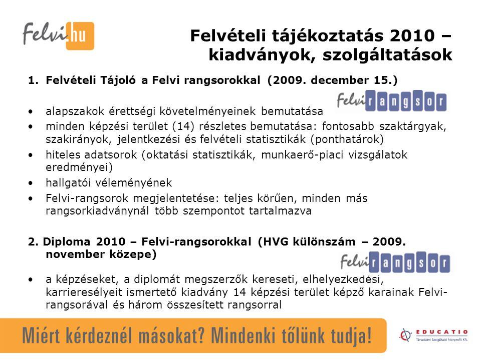 Felvételi tájékoztatás 2010 – kiadványok, szolgáltatások 1.Felvételi Tájoló a Felvi rangsorokkal (2009.