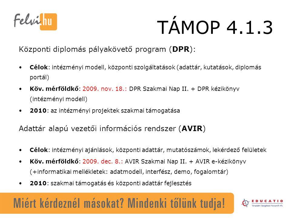 TÁMOP 4.1.3 Központi diplomás pályakövető program (DPR): Célok: intézményi modell, központi szolgáltatások (adattár, kutatások, diplomás portál) Köv.