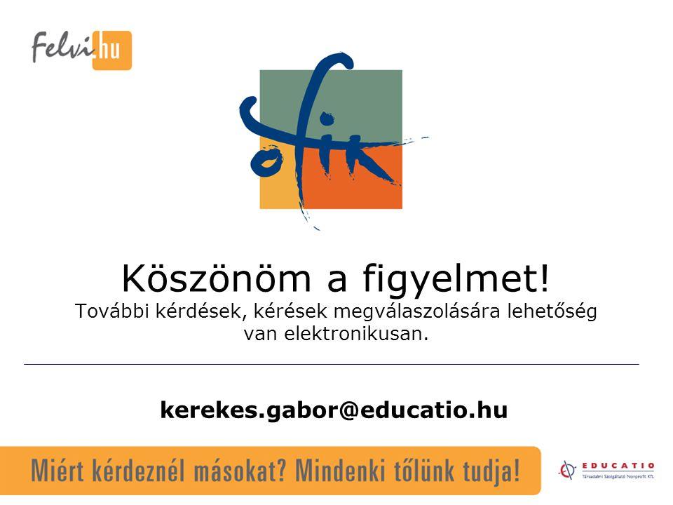 kerekes.gabor@educatio.hu Köszönöm a figyelmet! További kérdések, kérések megválaszolására lehetőség van elektronikusan.