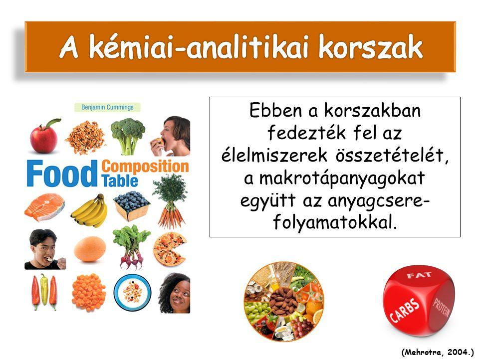 Ebben a korszakban fedezték fel az élelmiszerek összetételét, a makrotápanyagokat együtt az anyagcsere- folyamatokkal. (Mehrotra, 2004.)