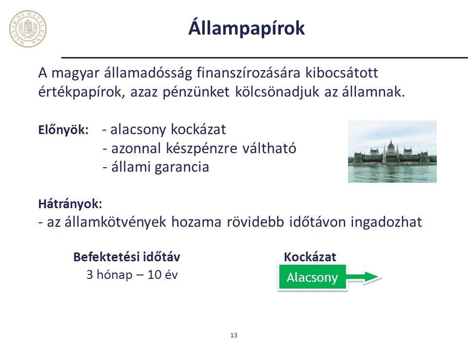 Állampapírok A magyar államadósság finanszírozására kibocsátott értékpapírok, azaz pénzünket kölcsönadjuk az államnak.