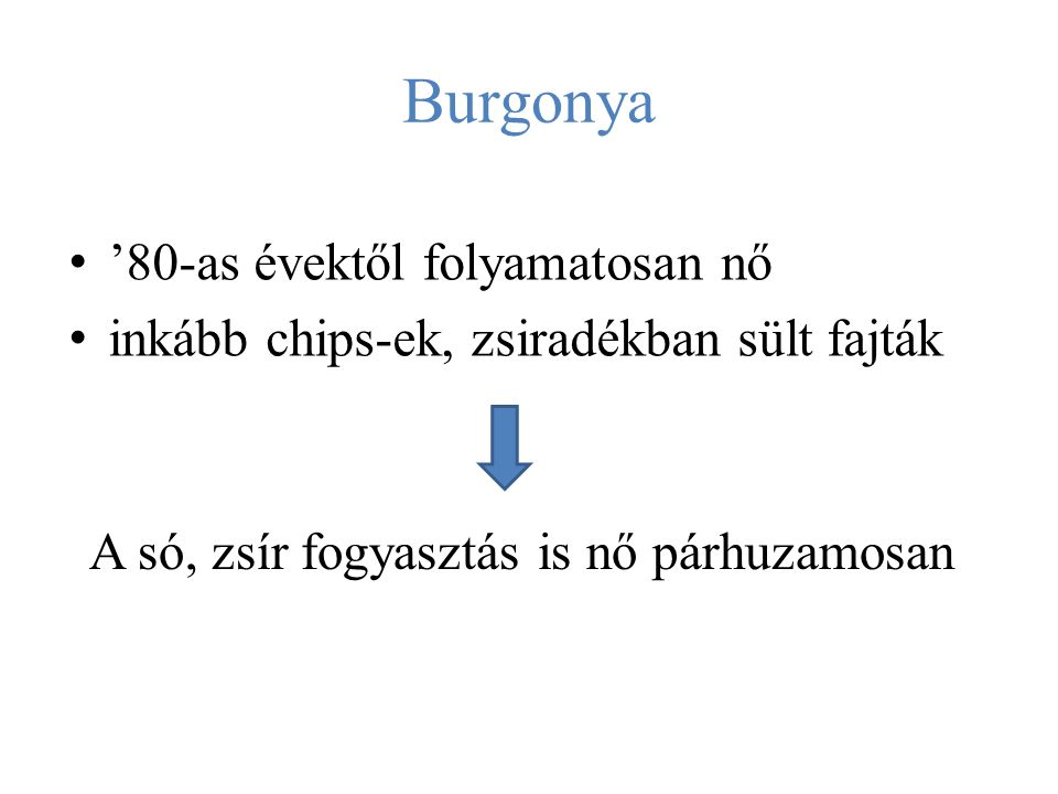 Burgonya '80-as évektől folyamatosan nő inkább chips-ek, zsiradékban sült fajták A só, zsír fogyasztás is nő párhuzamosan