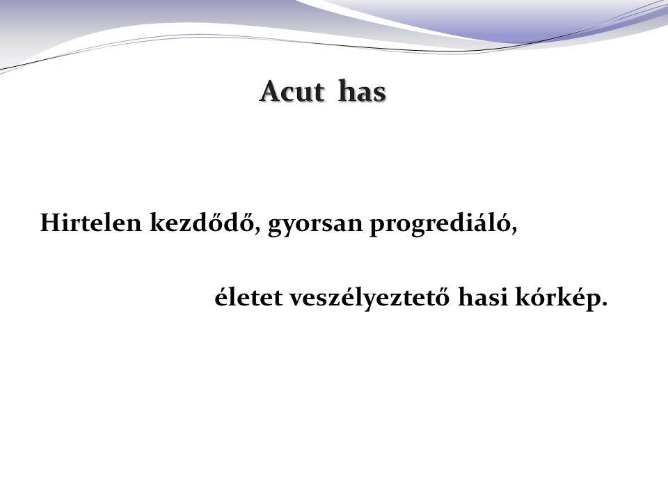 = acut műtét (általában) Magyarországon az összes sebészi eset 20-30 %-a acut