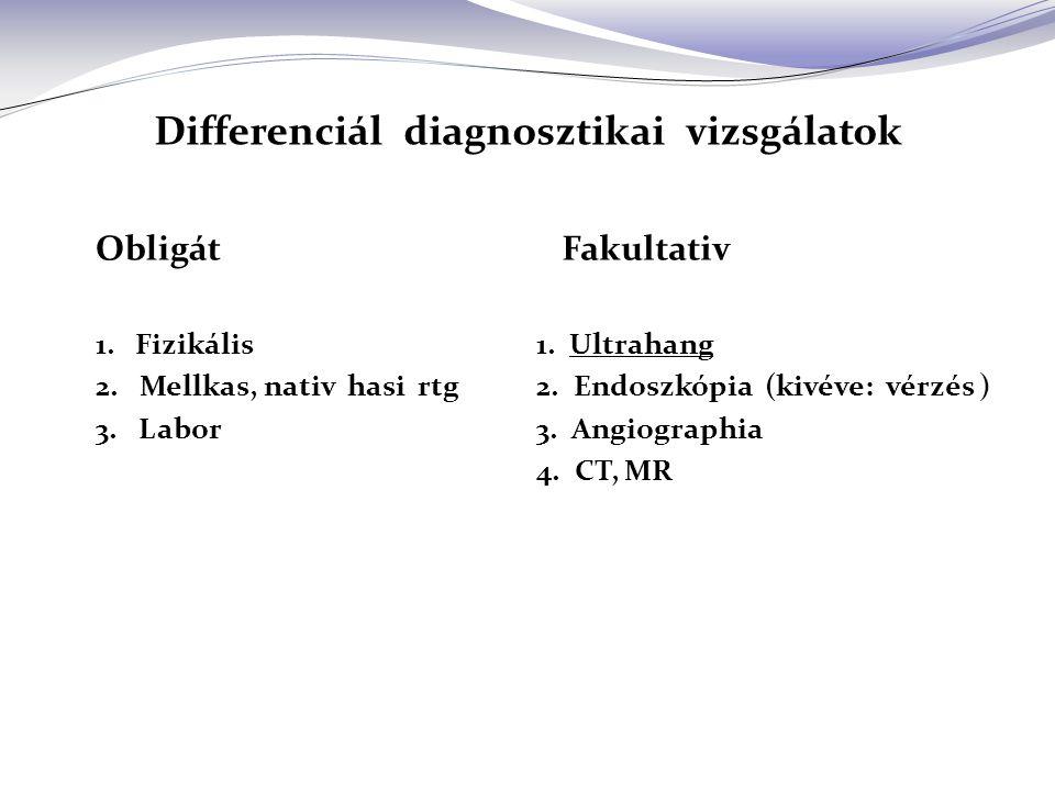 Differenciál diagnosztikai vizsgálatok Obligát 1.Fizikális 2.