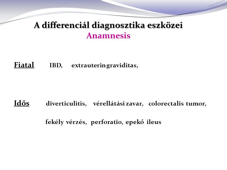 A differenciál diagnosztika eszközei A differenciál diagnosztika eszközei Anamnesis Fiatal IBD, extrauterin graviditas, Idős diverticulitis, vérellátási zavar, colorectalis tumor, fekély vérzés, perforatio, epekő ileus
