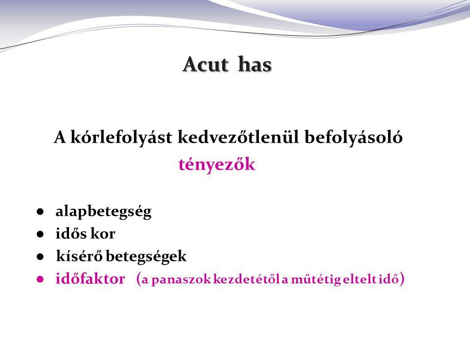 Acut hasi kórképek Acut hasi kórképek ischemia, vénás pangás arteriás embolia, thrombosis (art.