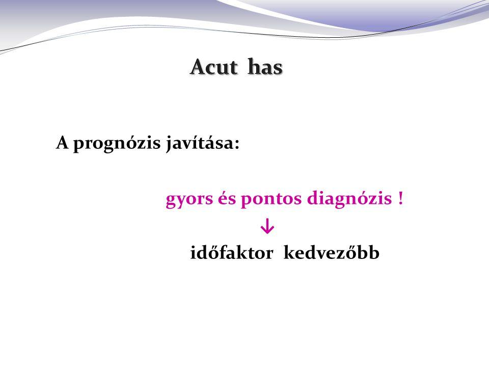 A prognózis javítása: gyors és pontos diagnózis ! ↓ időfaktor kedvezőbb