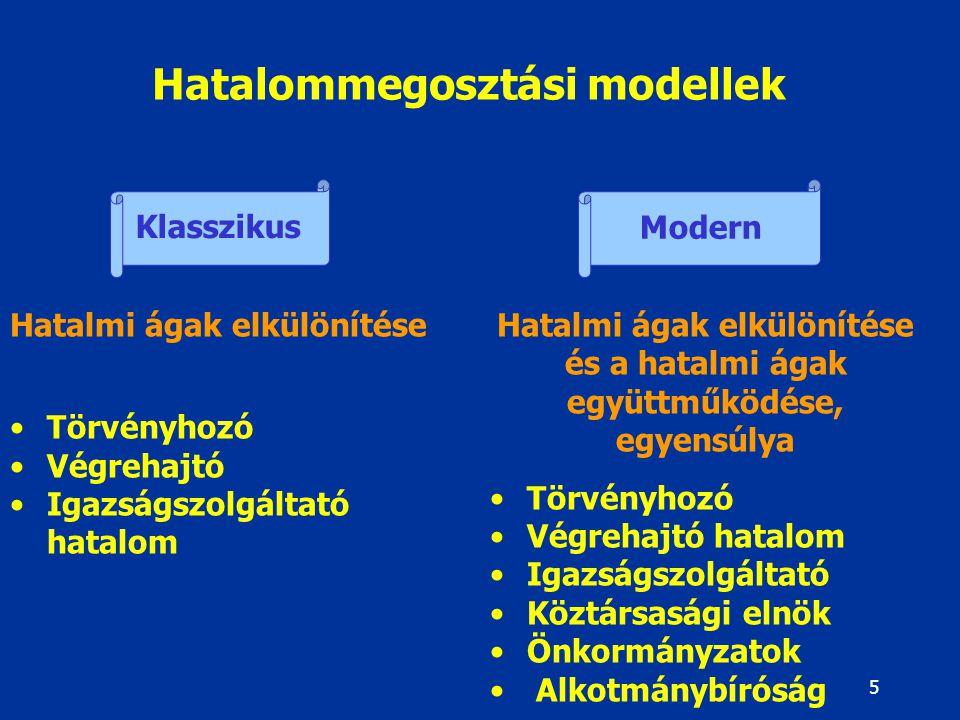 5 Hatalommegosztási modellek Klasszikus Modern Hatalmi ágak elkülönítése Törvényhozó Végrehajtó Igazságszolgáltató hatalom Hatalmi ágak elkülönítése é