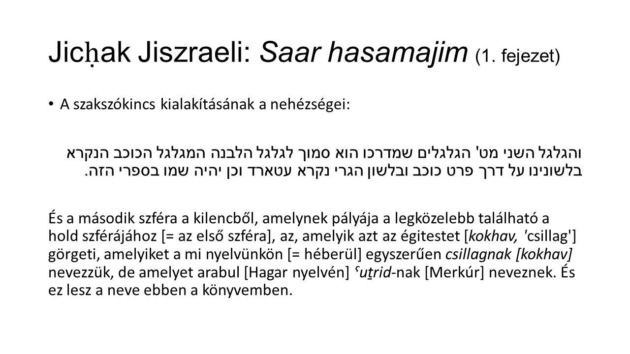 Jic ḥ ak Jiszraeli: Saar hasamajim (1.