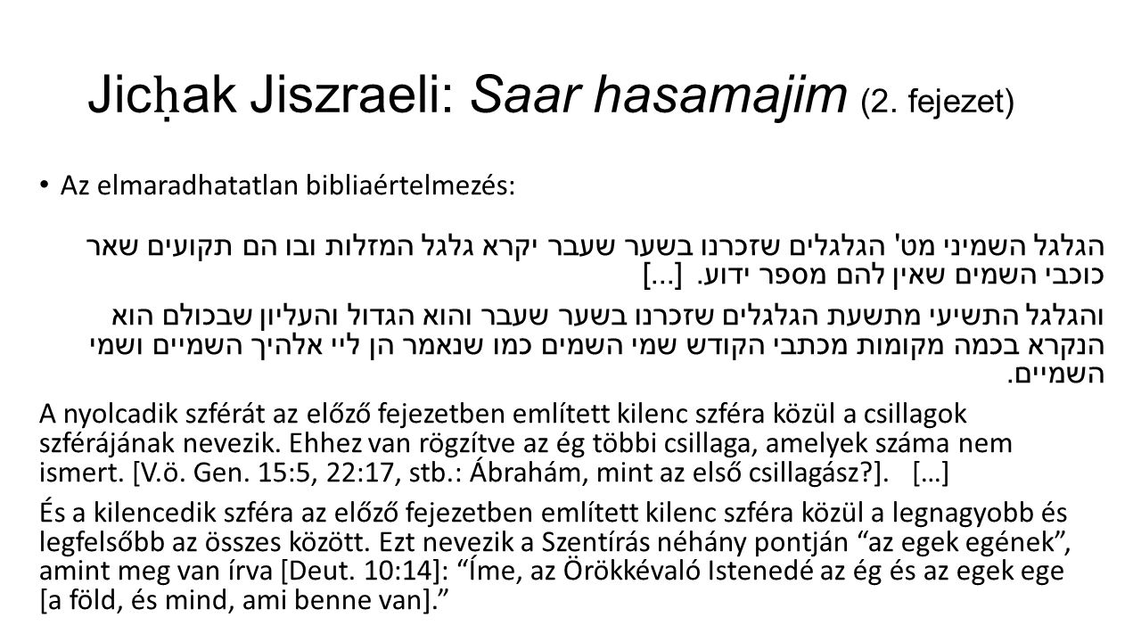 Jic ḥ ak Jiszraeli: Saar hasamajim (2.