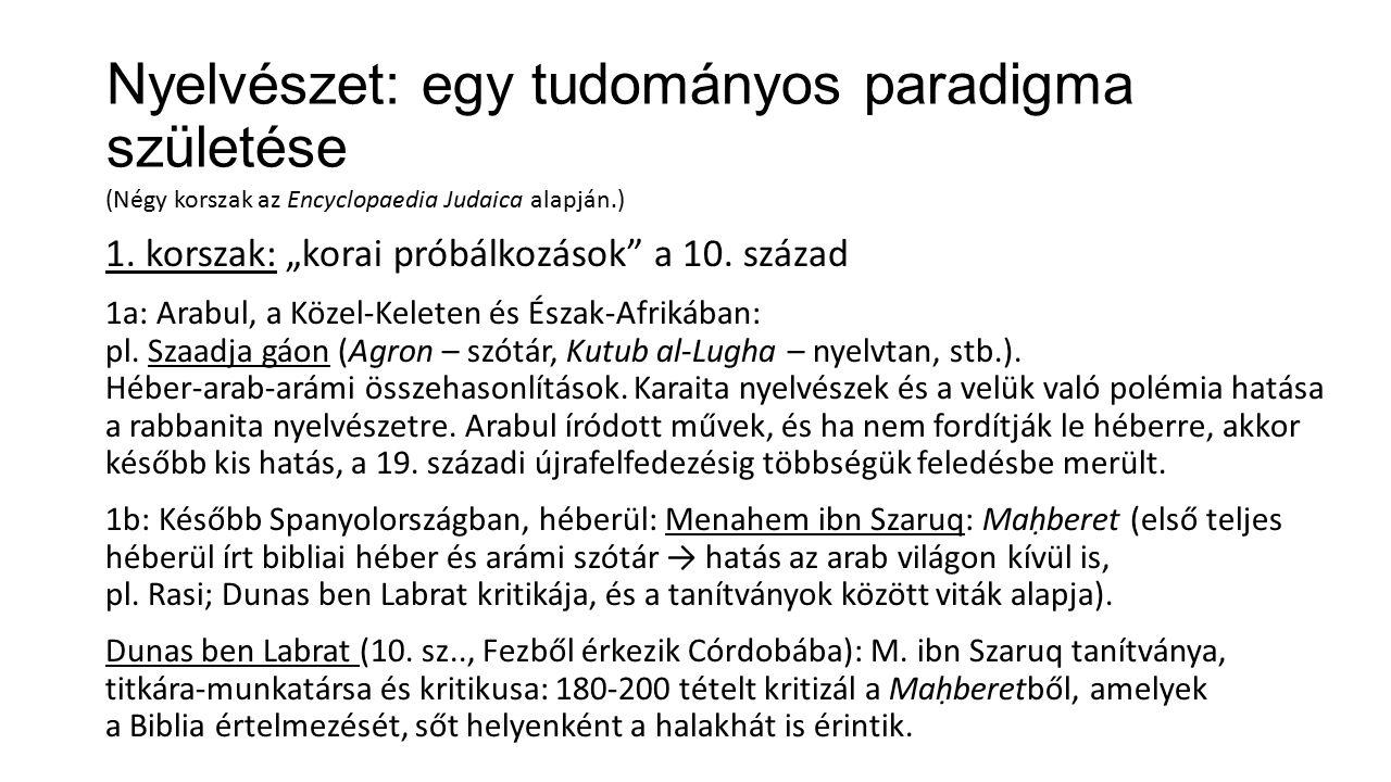 Nyelvészet: egy tudományos paradigma születése (Négy korszak az Encyclopaedia Judaica alapján.) 1.