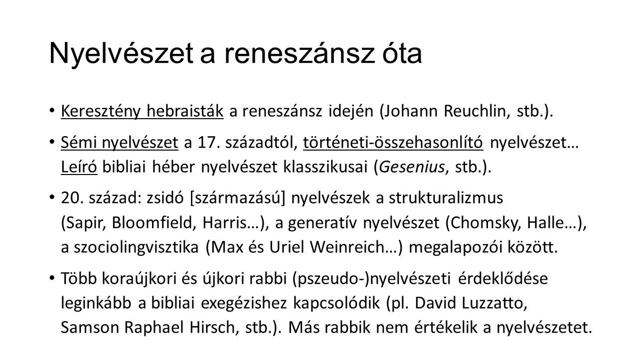 Nyelvészet a reneszánsz óta Keresztény hebraisták a reneszánsz idején (Johann Reuchlin, stb.).