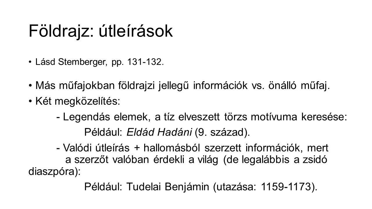 Földrajz: útleírások Lásd Stemberger, pp. 131-132.