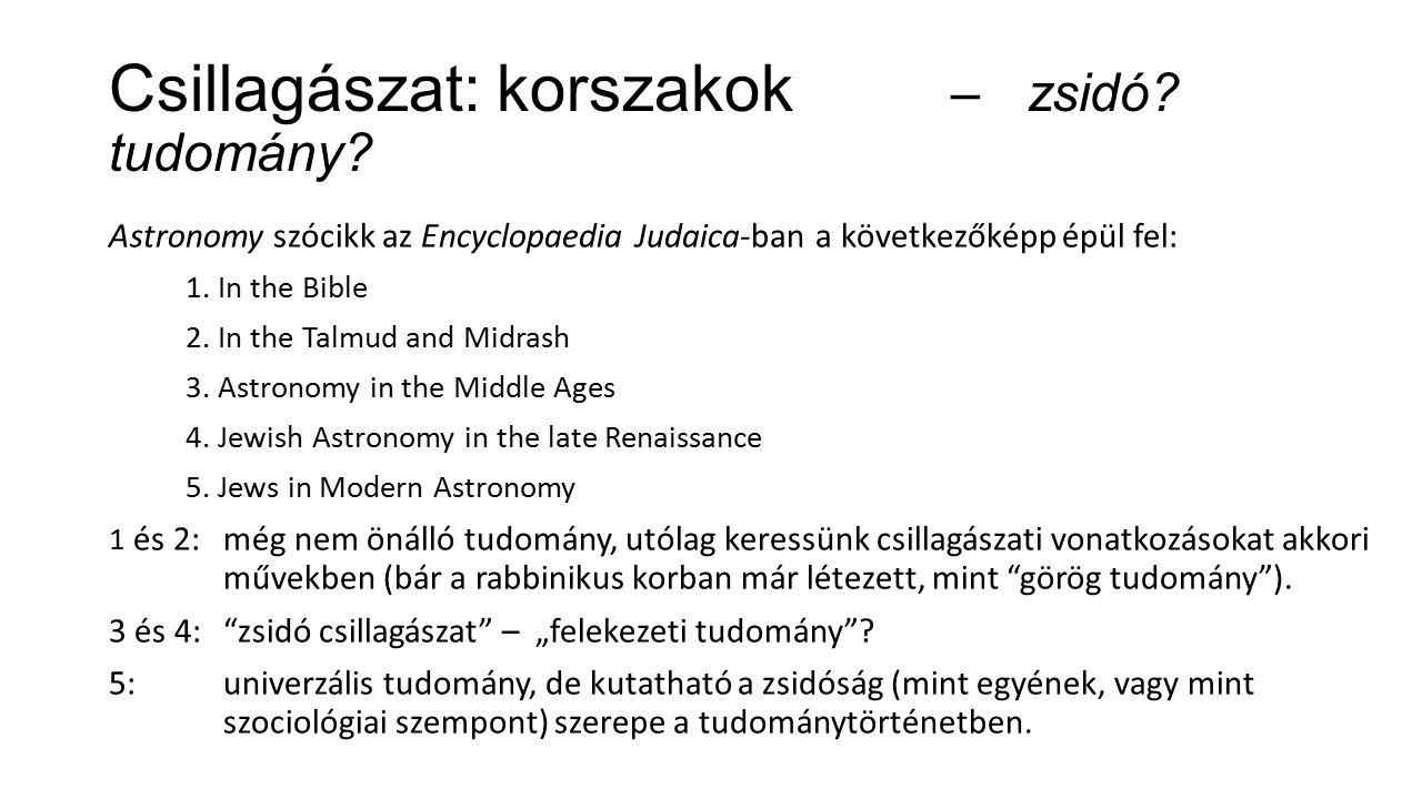 Csillagászat: korszakok – zsidó. tudomány.