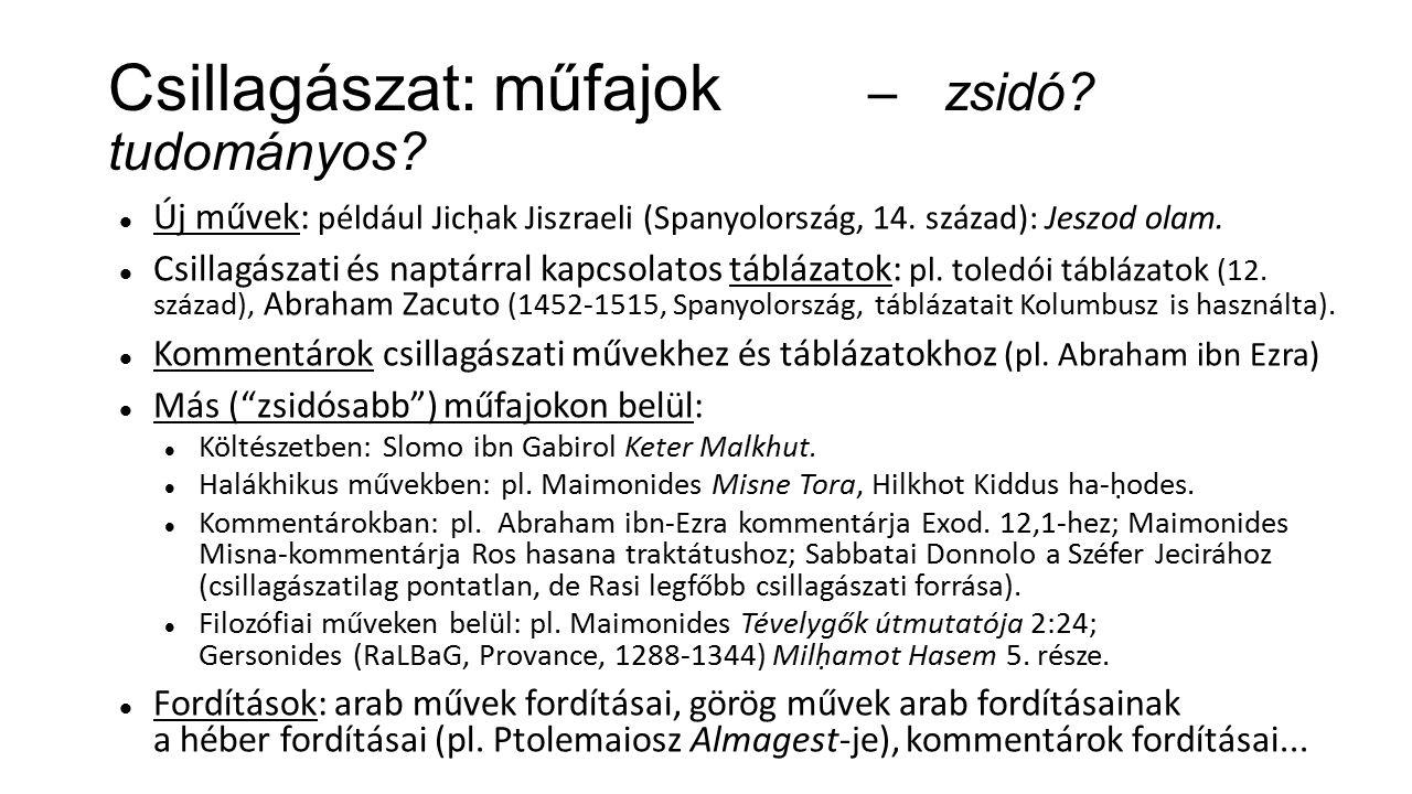 Csillagászat: műfajok – zsidó. tudományos. Új művek: például Jicḥak Jiszraeli (Spanyolország, 14.