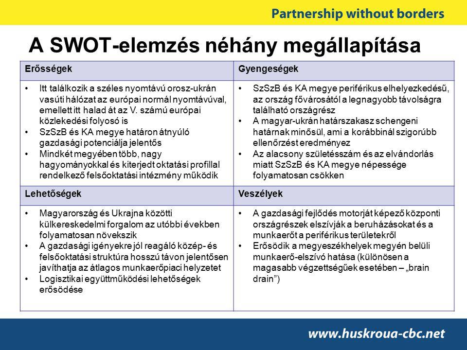 A SWOT-elemzés néhány megállapítása ErősségekGyengeségek Itt találkozik a széles nyomtávú orosz-ukrán vasúti hálózat az európai normál nyomtávúval, em