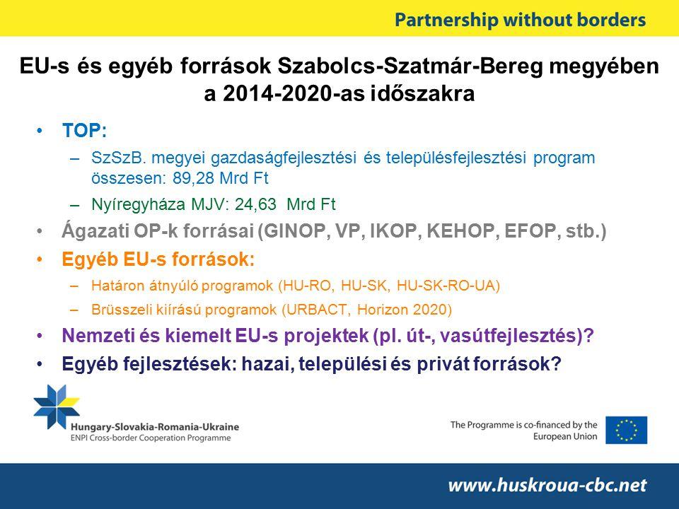 EU-s és egyéb források Szabolcs-Szatmár-Bereg megyében a 2014-2020-as időszakra TOP: –SzSzB. megyei gazdaságfejlesztési és településfejlesztési progra