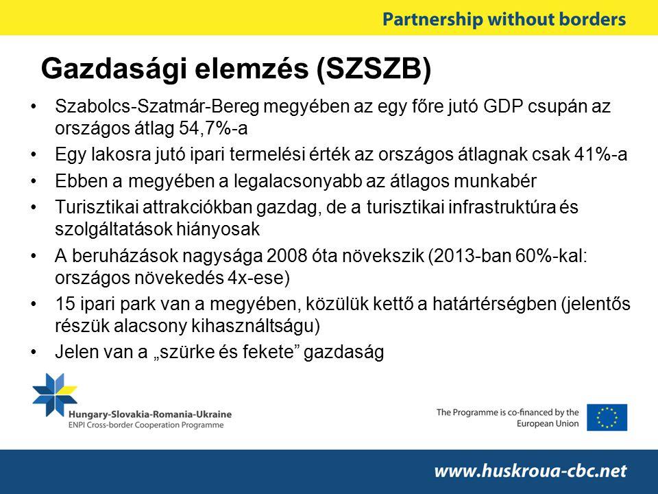 Gazdasági elemzés (SZSZB) Szabolcs-Szatmár-Bereg megyében az egy főre jutó GDP csupán az országos átlag 54,7%-a Egy lakosra jutó ipari termelési érték