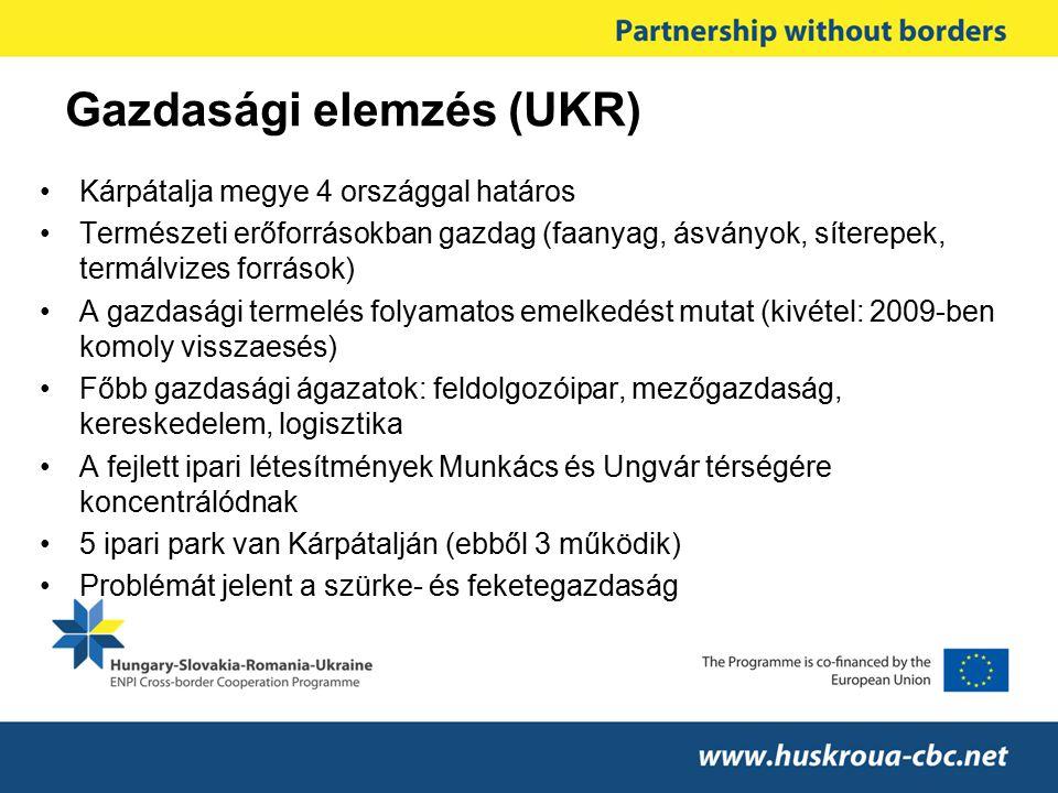 Gazdasági elemzés (UKR) Kárpátalja megye 4 országgal határos Természeti erőforrásokban gazdag (faanyag, ásványok, síterepek, termálvizes források) A g